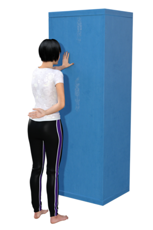 Standing, Thoracic Rotation Stretch. This is one of 2 images. <br /> (start)