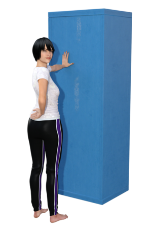 Standing Thoracic Rotation Stretch. This is one of 2 images.<br /> (end)