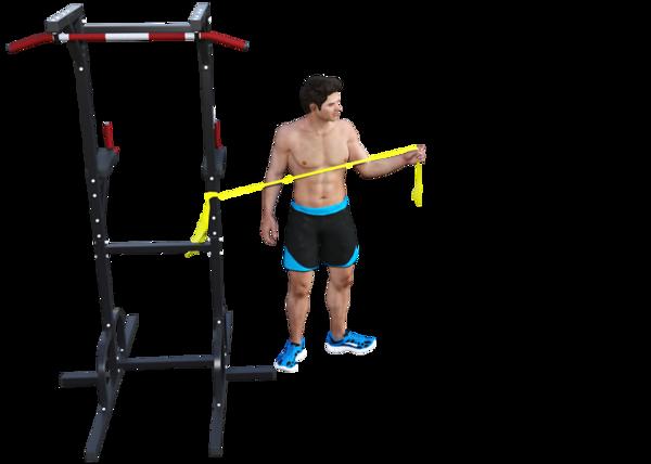 Shoulder External Rotation with Band, Opposite Leg External Rotation (finish)