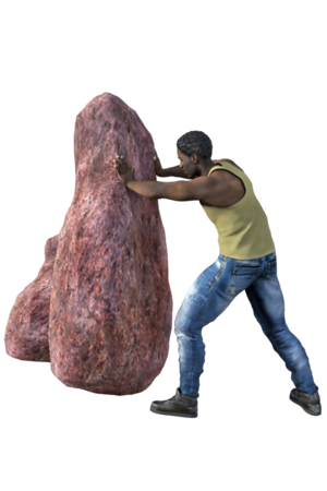 Worker Pushing Rock