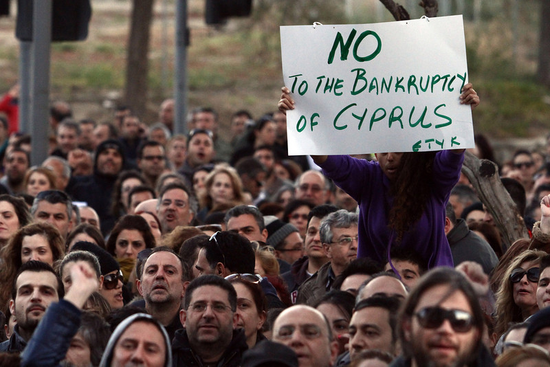 Cypriots  bank union workers protest against haircut in Nicosia