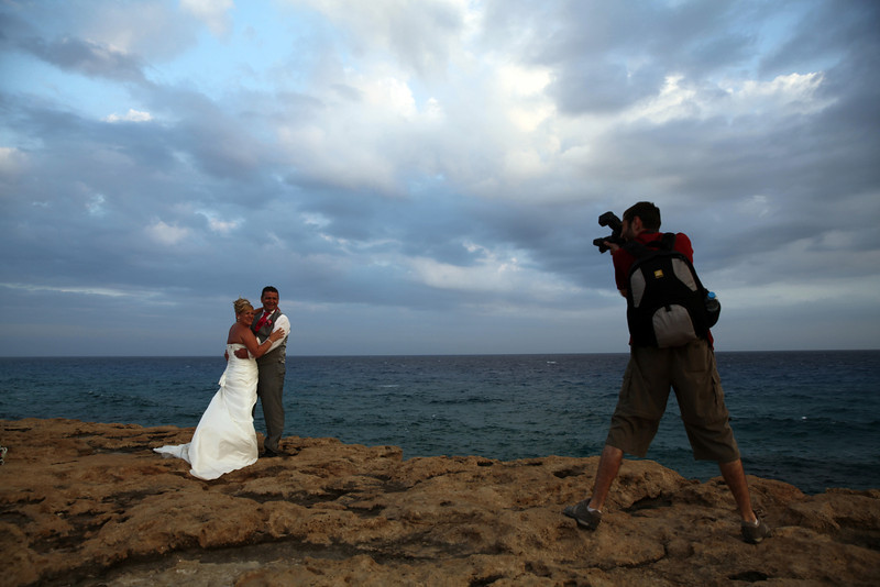 Cyprus,Cavo Greco:Couples from Russia and England do their photoshoot after their marriage  in Cyprus on June 13,2013