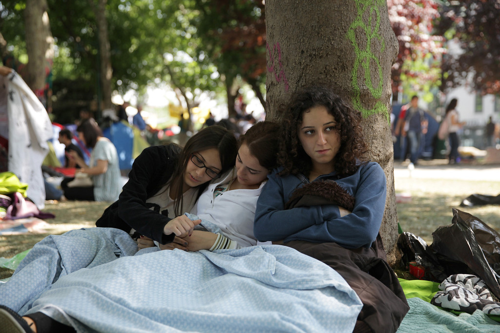 June 04,2013- Istanbul,Turkey: Women spend time in Taksim Gezi park.The protests began initially over the fate of Taksim Gezi Parhek, one of the last significant green spaces in the center of the city.