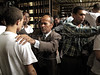 Prisoners get blessed by evangelicals at a police station jail in Sao Goncalo, a working class suburb of Rio de Janeiro. Brazilian jails and prisons, where inmates are separated by gang allegiance, are notoriously overcrowded. The sub-human conditions which are criticized by human rights groups are also one of the principal causes of prison riots in the South American Nation. (Australfoto/Douglas Engle)