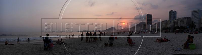 "Sunset on Leme Beach in Rio de Janeiro. Approximate location:   22°57'48.61""S, 43°10'2.25""W (Australfoto/Douglas Engle)"