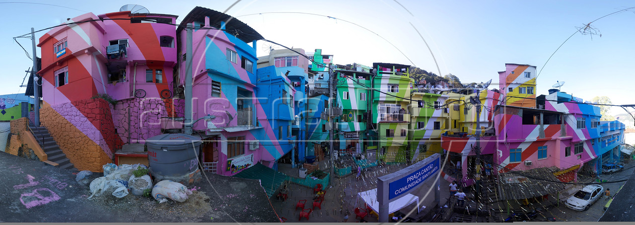 Panorama of mural, by Dutch painting duo Jeroen Koolhaas and Dre Urhahn in the Santa Marta slum in Rio de Janeiro. (Australfoto/Douglas Engle)