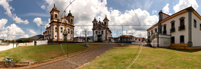 "From left to right, The Sao Franciso church, Nossa Senhora do Carmo church and the old city hall in at the Praça Minas Gerais in Mariana, Minas Gerais State, Brazil. Approximate location:  20°22'40.52""S,  43°25'4.96""W (Australfoto/Douglas Engle)"