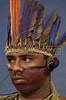 Neguinho Truka, of the Truka Tribe of Brazil's northeastern Pernambuco state, listens to a translation headset during a discussion indigenous peoples at the World Social Forum in Porto Alegre, Brazil, Saturday February 2, 2002. The five-day Social Forum is a shadow event to the World Economic Forum that this year brings powerful politicians and businessmen from around the world to New York City.(Australfoto/Douglas Engle)