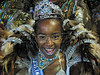 A percussion section princess performs in the Sambadrome for the Beija-Flor Samba School during the second night of the first division parades in Rio de Janeiro. (Douglas Engle/Australfoto)