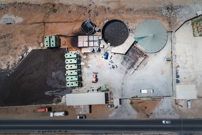 Bola Boden is a waste management facility that has been around for under a year. The facility is responsible for cleaning the beaches around. The eight sewage tanks on the left are responsible for turning human waste into compost.