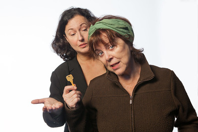 "L-R: Jeri Lynn Cohen, Susan Harloe in the ""Office"" by Alice Munro.Photo by Mark Leialoha"
