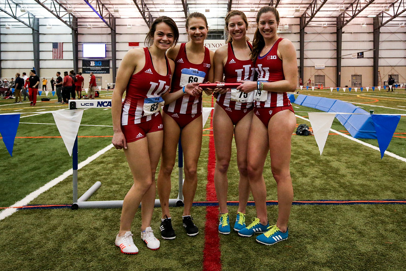 GENEVA, OH - February 23, 2018 -- Natalie Price, Brenna Calder, Kelsey Harris and Haley Harris of the Indiana Hoosiers during the Indoor Big Ten Championships at the SPIRE Institute in Geneva, Ohio. Photo by Steven Leonard/Indiana Athletics