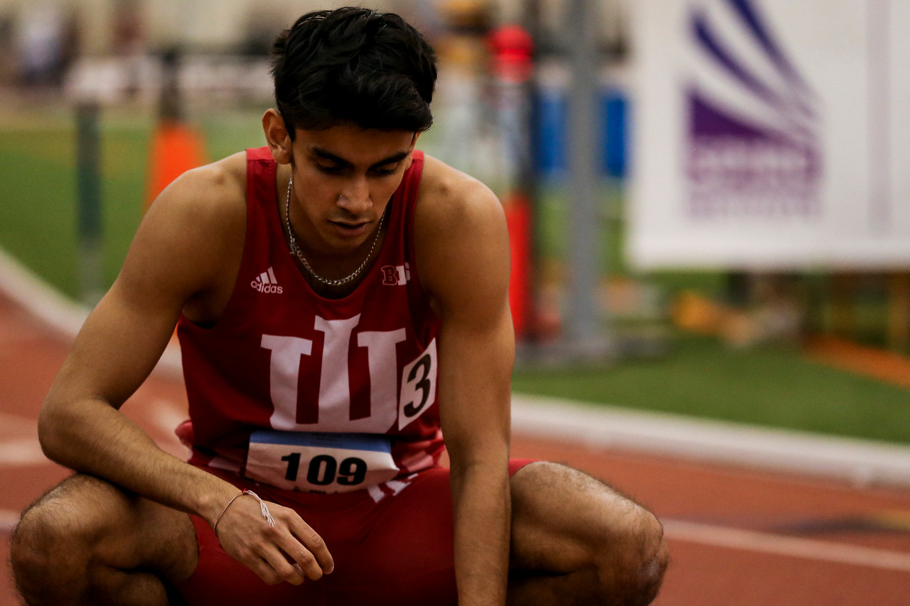 GENEVA, OH - February 23, 2018 -- Zubin Mancherji of the Indiana Hoosiers during the Indoor Big Ten Championships at the SPIRE Institute in Geneva, Ohio. Photo by Steven Leonard/Indiana Athletics