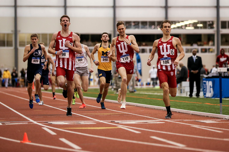 GENEVA, OH - February 24, 2018 - Kyle Mau, Teddy Browning and Joe Murphy of the Indiana Hoosiers during the Indoor Big Ten Championships at the SPIRE Institute in Geneva, Ohio. Photo by Steven Leonard/Indiana Athletics