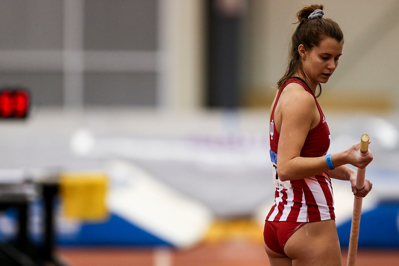 GENEVA, OH - February 23, 2018 -- Rachel Mather of the Indiana Hoosiers during the Indoor Big Ten Championships at the SPIRE Institute in Geneva, Ohio. Photo by Steven Leonard/Indiana Athletics