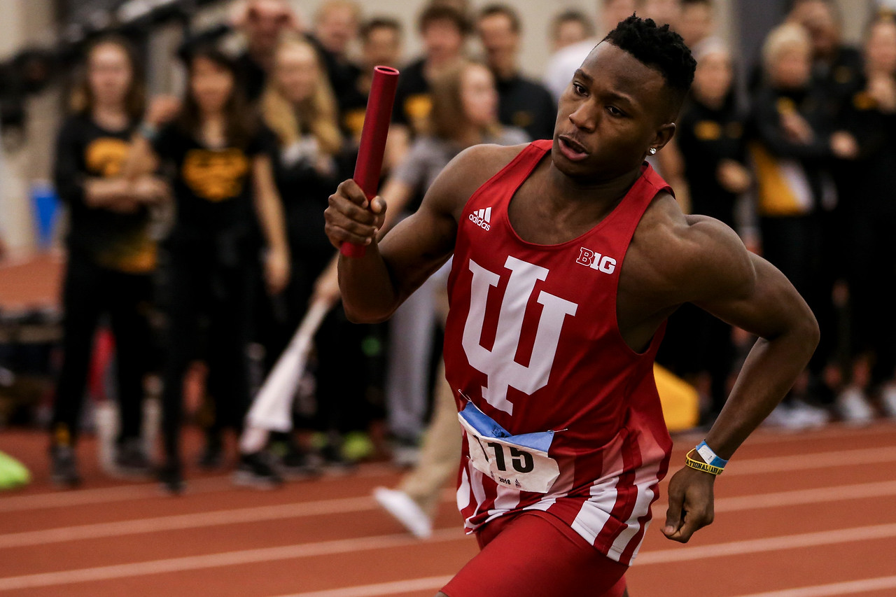 GENEVA, OH - February 24, 2018 - Isiah Ware of the Indiana Hoosiers during the Indoor Big Ten Championships at the SPIRE Institute in Geneva, Ohio. Photo by Steven Leonard/Indiana Athletics