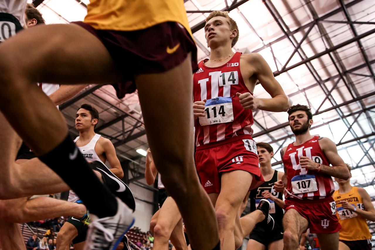 GENEVA, OH - February 24, 2018 - Ben Veatch of the Indiana Hoosiers during the Indoor Big Ten Championships at the SPIRE Institute in Geneva, Ohio. Photo by Steven Leonard/Indiana Athletics