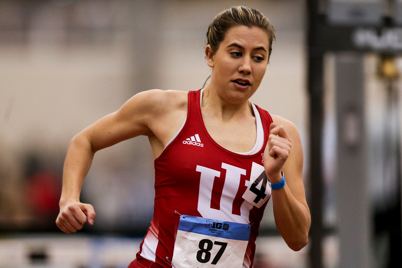 GENEVA, OH - February 23, 2018 -- Kendall Wiles of the Indiana Hoosiers during the Indoor Big Ten Championships at the SPIRE Institute in Geneva, Ohio. Photo by Steven Leonard/Indiana Athletics