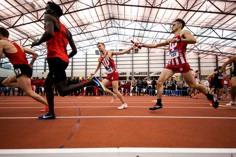 GENEVA, OH - February 23, 2018 -- Daniel Kuhn and Joe Murphy of the Indiana Hoosiers during the Indoor Big Ten Championships at the SPIRE Institute in Geneva, Ohio. Photo by Steven Leonard/Indiana Athletics