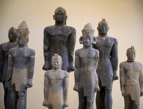 Statues of the 25th Dynasty Kushite Pharaohs found by Bonnet