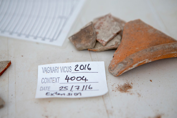 Fragments of Roman pottery in the Vagnari lab.