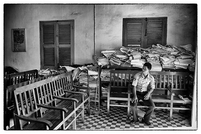 Paperwork starts to overwhelm the courtroom. It struck me as a metaphor for how organized and efficient the current justice system is in Cambodia.