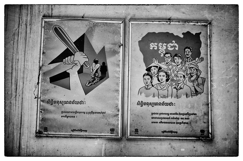 "Posters in the courtroom. Many ""confessions"" are attained by police beating one out of the accused. Cambodians, especially poor rural ones, do not know their rights. Families are at a loss when their loved one's go to prison, not knowing where to turn or what to do. This was the case for Mao as well. Ouk and IBJ are an unbelievable resource for them."