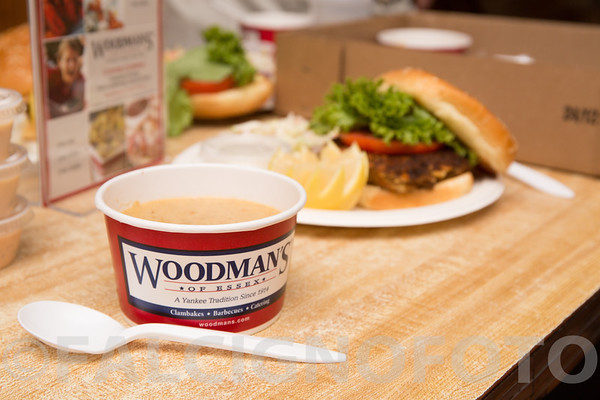 Photo illustration of Woodman's green crab roe bisque, with green crab cake.