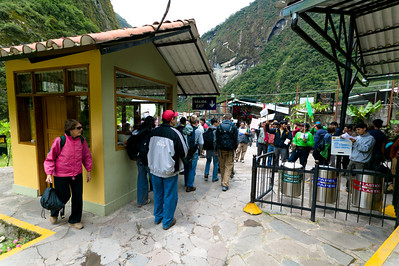 Passengers arrive at the last stop on the line, Aguas Calientes or Machu Picchu Pueblo station. As passengers leave the station they are hounded by hostels and hotels looking to fill rooms. Tourism makes the world go round in this small town only 6 km from Machu Picchu and competition for tourist dollars is fierce.