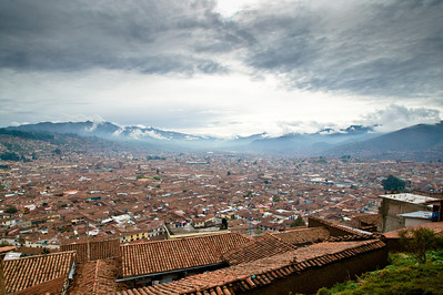 A departing view of Cuzco. In order to leave Cuzco the train slowly climbs, stops, and reverses direction to change tracks. It does this a half dozen times over a 30 minute period to get over the steep hill.