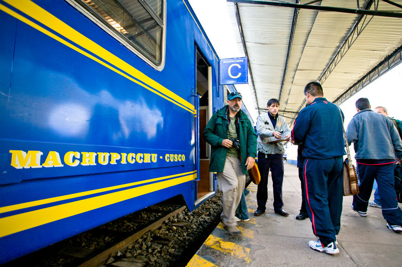 "The train from Cuzco to Aguas Calientes is the fastest and only way to get to Machu Picchu for tourists. PeruRail currently has a monopoly on service to Aguas Calientes. The four hour, 80 kilometer ride costs 72 dollars round-trip for the cheapest ""backpacker"" train and about 107 dollars for the more comfortable ""Vistadome"" train. The Hiram Bingham luxury train is also available for a mere 588 dollars."