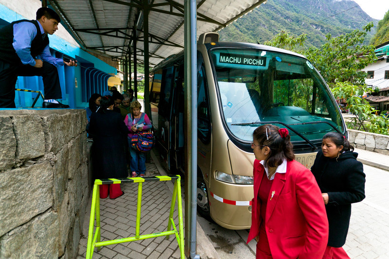 The most conventional way of getting up to the entrance of Machu Picchu is by bus (and the only way for the time being, save for hiking up). The bus service going up the dozen switchbacks carved into the landslide-prone 3 mile dirt road will set you back 14 dollars round trip and takes 30 minutes. Take the first bus at 5:30 a.m. to avoid the crowds and see the ruins in their best light.