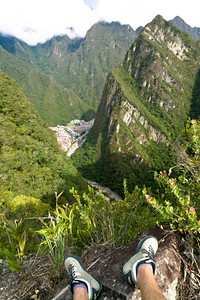 Aguas Calientes, although growing rapidly, is still a tiny village nestled in the valley, as seen from high atop Putucusi mountain.