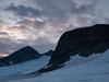 Leirbrean glacier and Kalven, Kniven and Store Smørstabbtind mountains (right to left) at sunrise. Jotunheimen National Park. Norway.