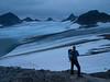 "Where we enters the Leirbrean glacier we can see most of the Smørstabbtind traverse. Right to left are the mountains of Kalven, Skeie, Veslebjørn, Bjørnungen, Saksa, ""Sauen"", Kniven and Store Smørstabbtind. Only Veslebjørn mountain is hidden behind Skeie mountain.  Jotunheimen National Park. Norway."