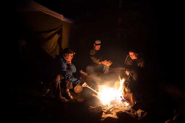 An evening around the campfire in Wyoming's Wind River Mountains