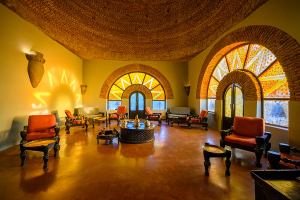 Interior of the Nubian Guesthouse hotel, Karima.  As Sudan begins to open its doors to tourism, several companies have begun to construct eco-lodges throughout Nubia offering immersive experiences to connect visitors with the history, landscape, and modern people of the region.