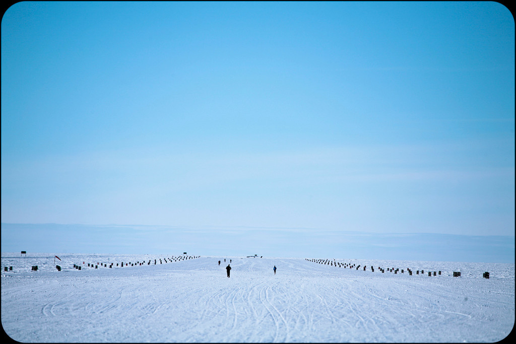What's it really like running at the South Pole?<br /> People often ask if it's quiet running at the South Pole. It's not. Your feet crunch into the snow with each step, the pitch varying with the hardpack of the snow. Your breath crackles and wheezes. And the wind when it's blowing, and it's almost always blowing, buffets your head and sings songs in your ears. But the loudest thing running at the South Pole is your thoughts. Simliar to running in the desert, the expanse of space as you head out from the station is endless.