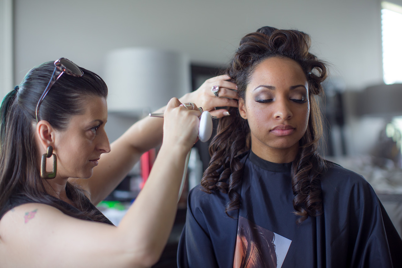 Applying the makeup!