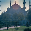 The Blue mosque, or Sultan Ahmed Mosque, into the Sun
