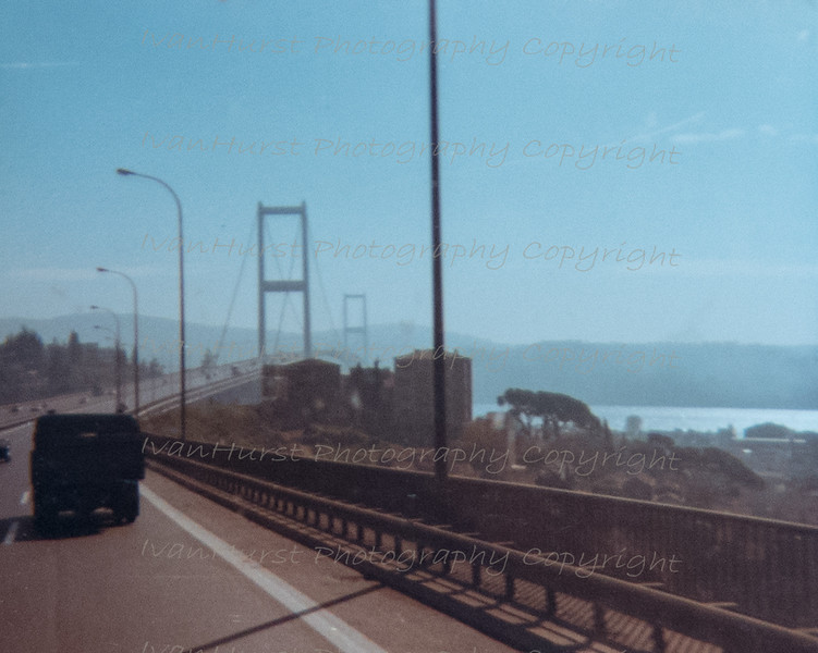 Approaching the Bosphorus Bridge and our crossing into Asia