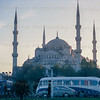 Our truck and coach in front of the Blue Mosque