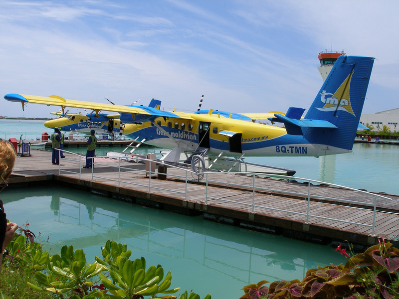 Seaplane airport Male<br /> Seaplanes at local airport, Male, Maldives