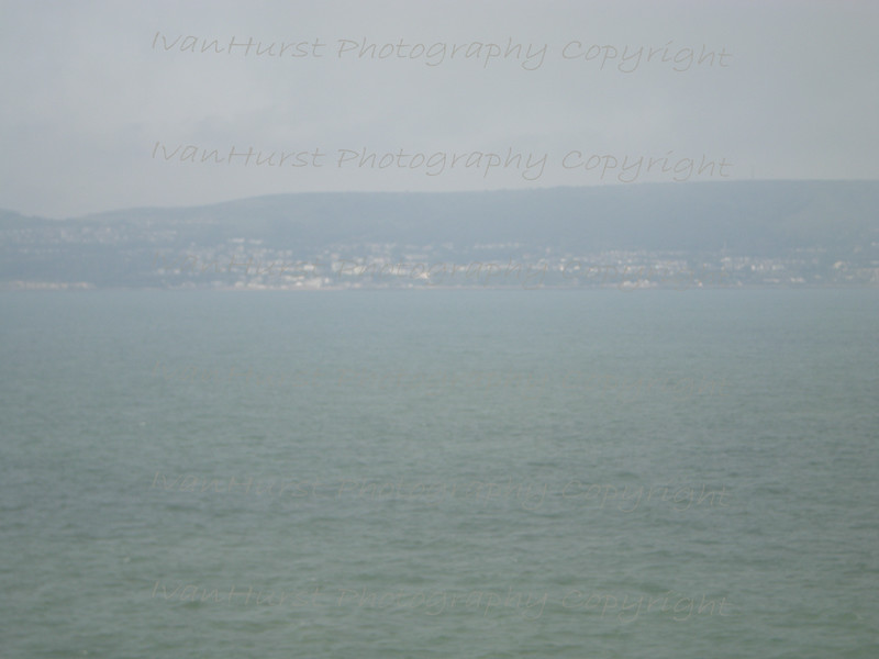 Sandown in the fog<br /> Sailing past Sandown on the Isle of Wight on approach to Portsmouth