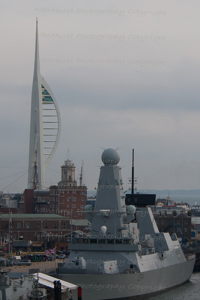D34, HMS Diamond with Spinnaker Tower<br /> Arriving back at Portsmouth sailing past HMS Diamond, a type 45 Stealt Destroyer with Spinnaker Tower in the background