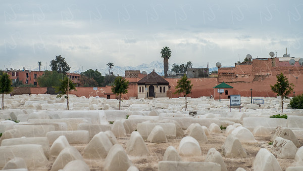 The Miaara Jewish Cemetery located in the old Jewish quarter of Marrakech, Morocco.