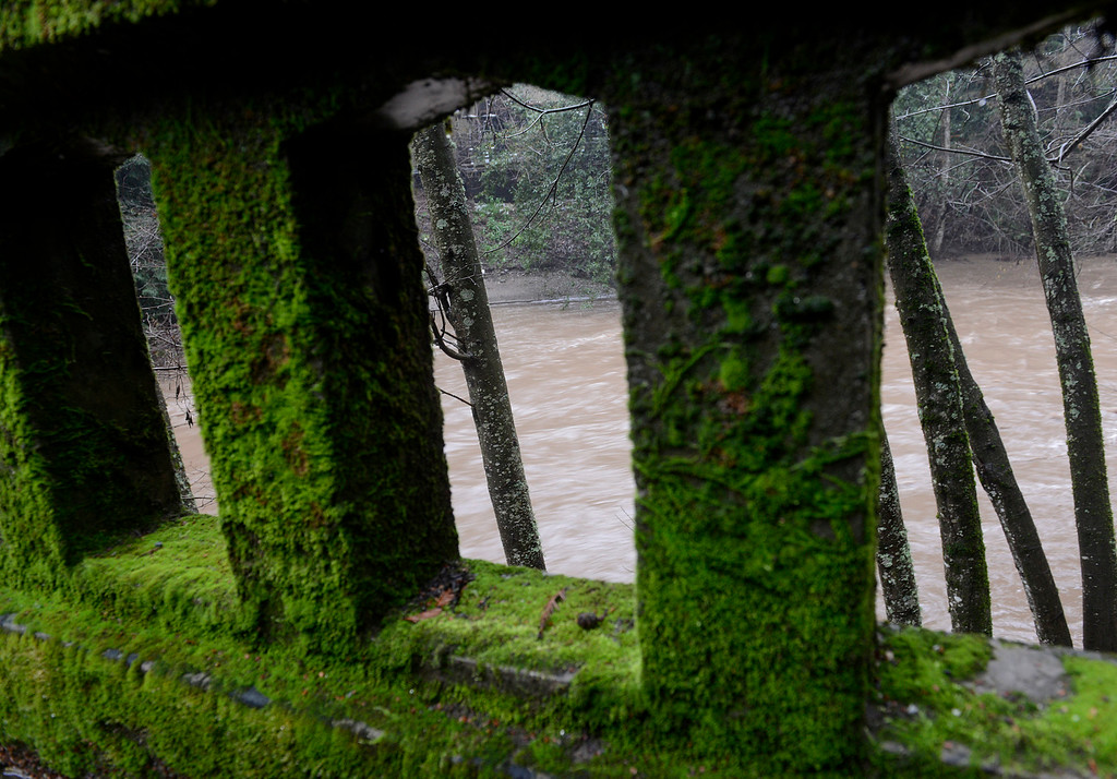 . The Big Sur Rver flows heavy under the Highway 1 bridge Big Sur as a new storm rolls into Monterey County on Tuesday February 7, 2017. (David Royal - Monterey Herald)