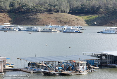 Water levels continue to rise near the Bidwell Canyon Marina on Lake Oroville Wed. Jan 11, 2017. (Bill Husa -- Enterprise-Record)