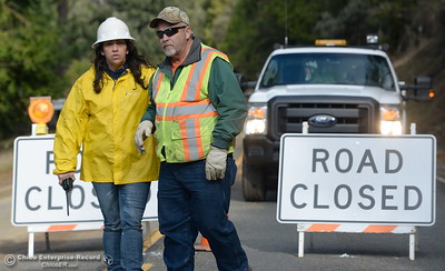 The road remains closed in both directions as Butte County Public Works crews work to clear a mudslide on hwy 162 near Berry Creek Wed. Jan 11, 2017. (Bill Husa -- Enterprise-Record)