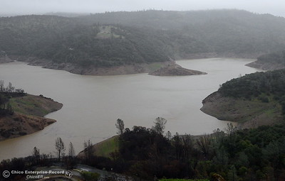 Lake Oroville is seen near the Nelson Bar Day use area from Silvera Ct. in Paradise, Calif. during a storm Tues. Jan. 10, 2017. (Bill Husa -- Enterprise-Record)